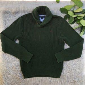 Tommy Hilfiger Green Knit Shawl Collar Sweater S